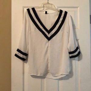 White and black blouse by Zanzea